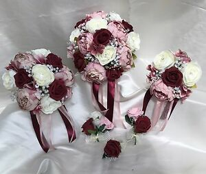 Wedding Flowers dusky pink Burgundy peonies Crystal Bouquet  Bride     Image is loading Wedding Flowers dusky pink Burgundy  peonies Crystal Bouquet