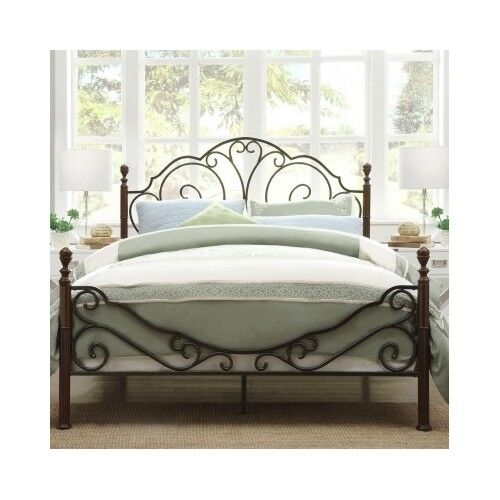 Queen Bed Antique Victorian Iron Vintage Rustic Metal Headboard     Queen Bed Antique Victorian Iron Vintage Rustic Metal Headboard Footboard  Frame   eBay