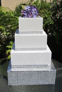 10  to 18  Square Wedding Cake Stand  Riser Rhinestone Mesh  4  tall     Image is loading 10 034 to 18 034 Square Wedding Cake