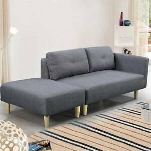 Modern 2   3 Seater Small Sofa Couch Grey Fabric   Footstool Cheap     Image is loading Modern 2 3 Seater Small Sofa Couch Grey