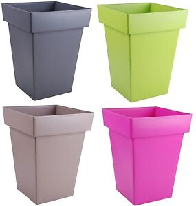 Large Square Plant Pots 48 Litre 50cm Tall Flower Pot Planters Green     Image is loading Large Square Plant Pots 48 Litre 50cm Tall