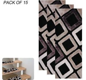 15Pcs Stair Treads Carpet Rug Skid Resistant Non Slip Indoor Stair | Non Slip Stair Treads Carpet | Self Adhesive | Slip Resistant Rubber Backing | Step | Semi Circle | Adhesive Padding