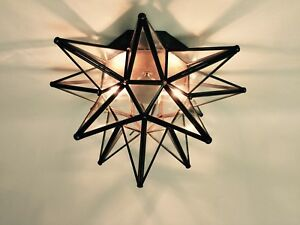 Moravian Star Ceiling Light Wall Sconce 15   Glass  Hand Crafted   eBay Image is loading Moravian Star Ceiling Light Wall Sconce 15 034