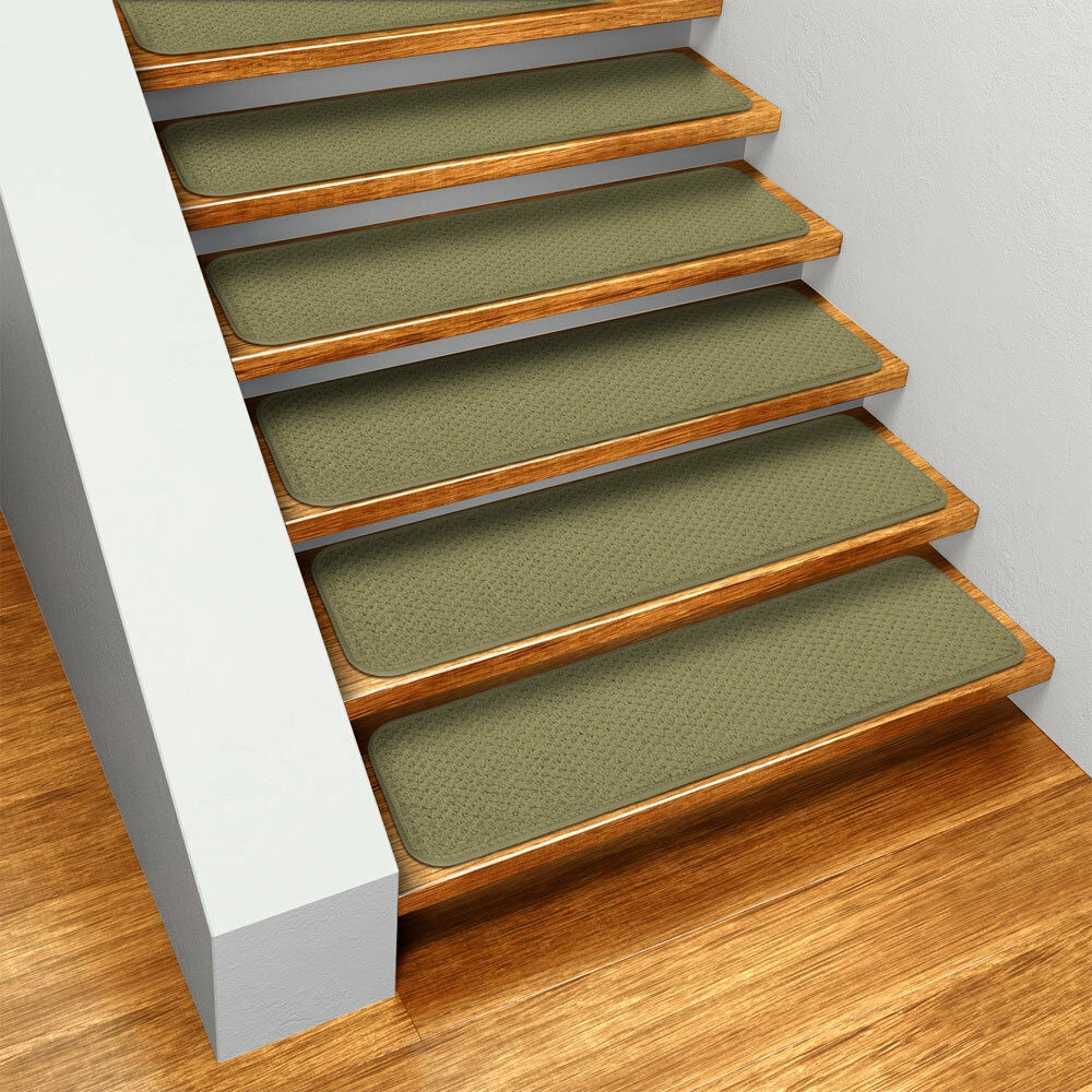 Set Of 15 Skid Resistant Carpet Stair Treads 8 X27 Olive Green | Stair Treads And Runners | Non Slip | Mat | Treads Carpet | Bullnose Carpet Runners | Staircase