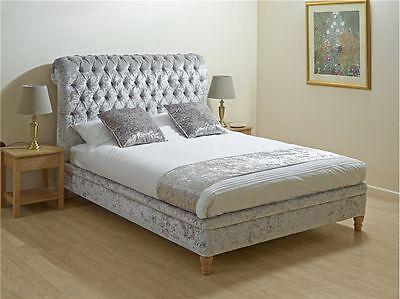 Crushed Velvet Bed Frame Double 4ft6 Bedstead Grey