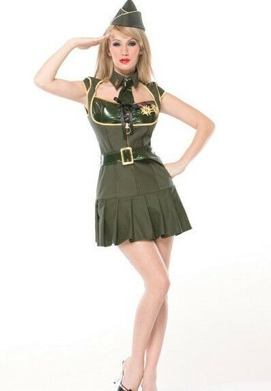 Womens Sexy Army Costume Pin Up Military Soldier Officer ...
