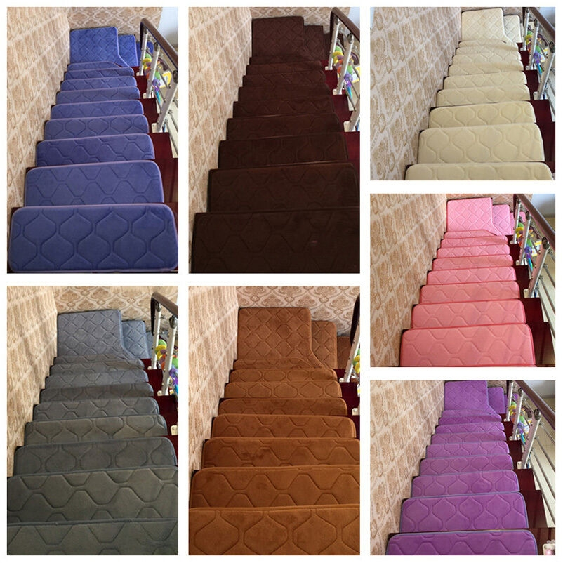 13Pcs Rectangle Stair Treads Strips Non Slip Carpet Mats   Rug Strips For Stairs