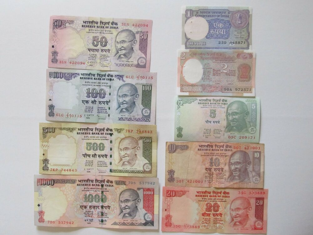 Indian Rupee Currency Paper Money Bank Note 1-2-5-10-20-50 ...