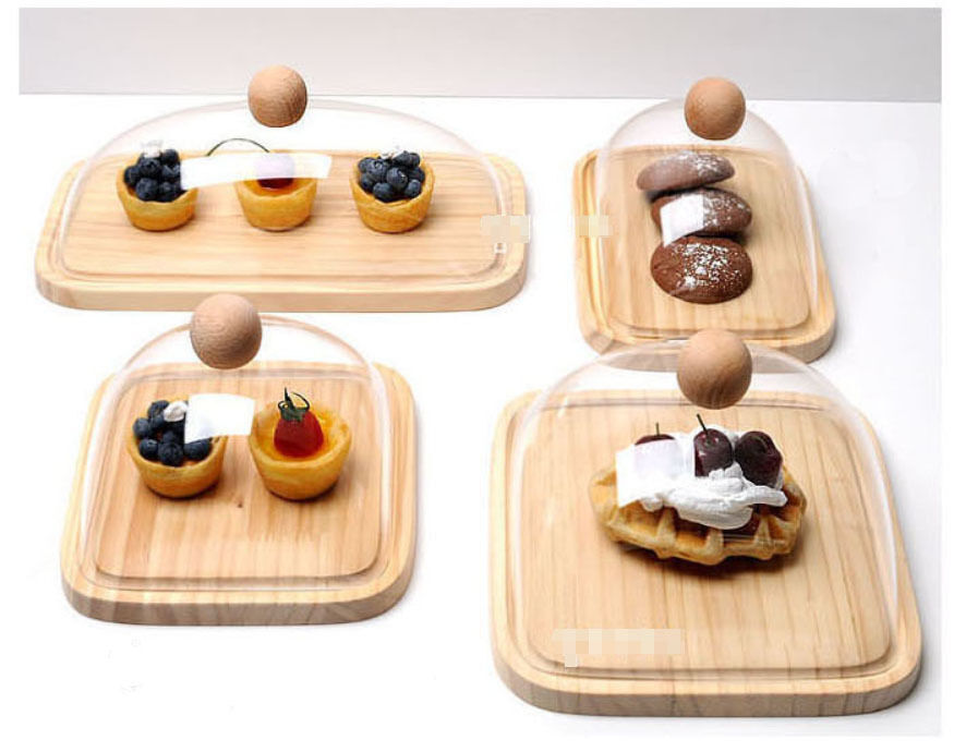 Acrylic Cake Cheese Dome Rectangle Cover with Board Food ...