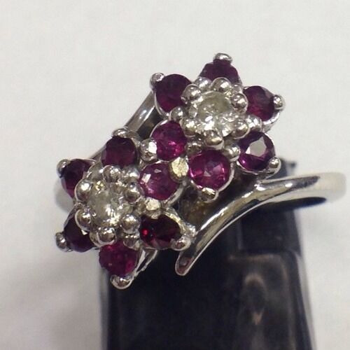 Antique 14k White Gold 80ct Ruby Amp Diamond Ring Band Womens Ladies Red Pink Ebay