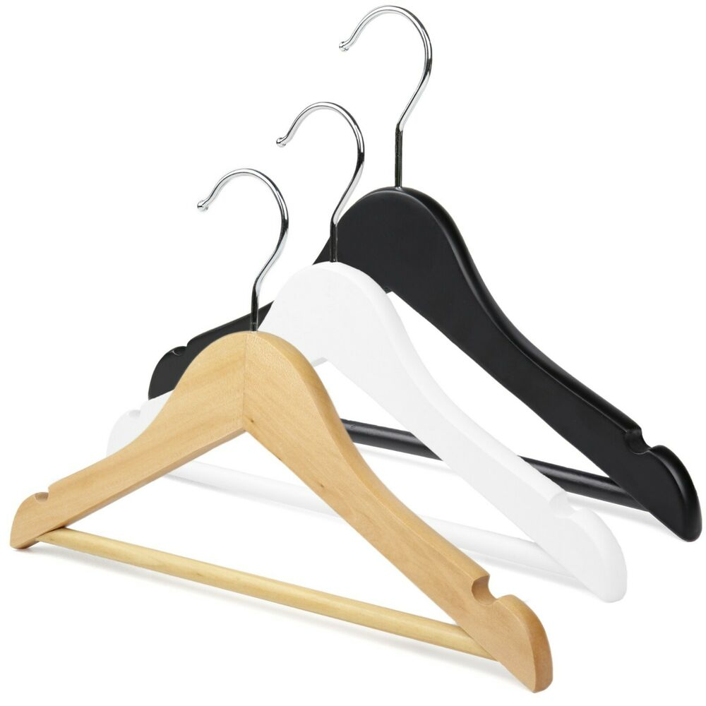 Children's wooden coat hangers with notches and bar for ...