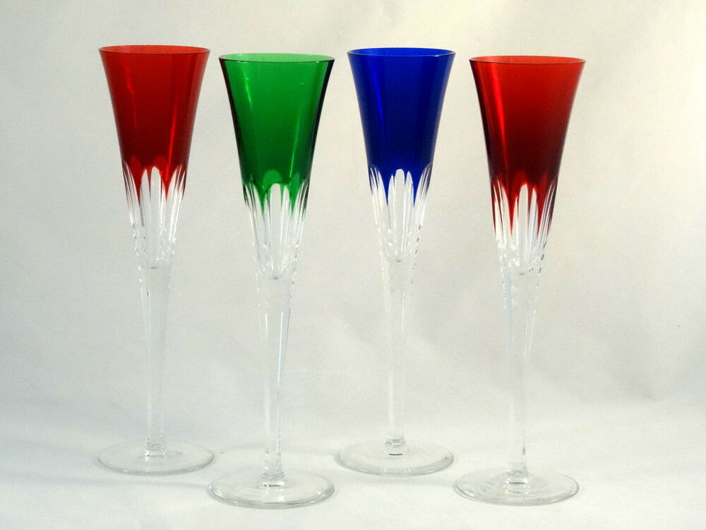 Ajka Crystal Glass Multi Color Cut to Clear Flared Wine ...