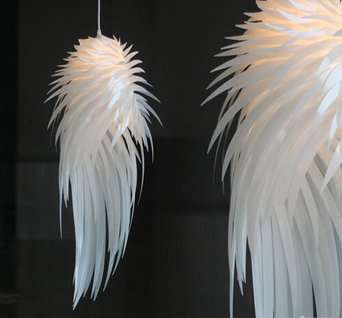 Modern Iracus White Feather Wing Ceiling Light Pendant