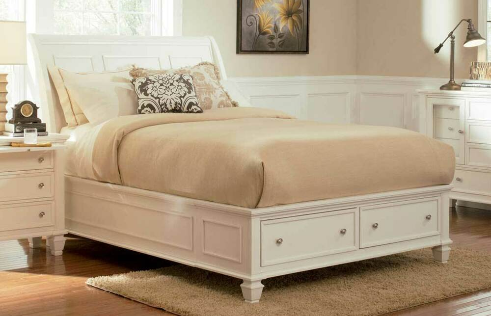 New Sandy Beach White Finish Wood Sleigh Panel Bed W