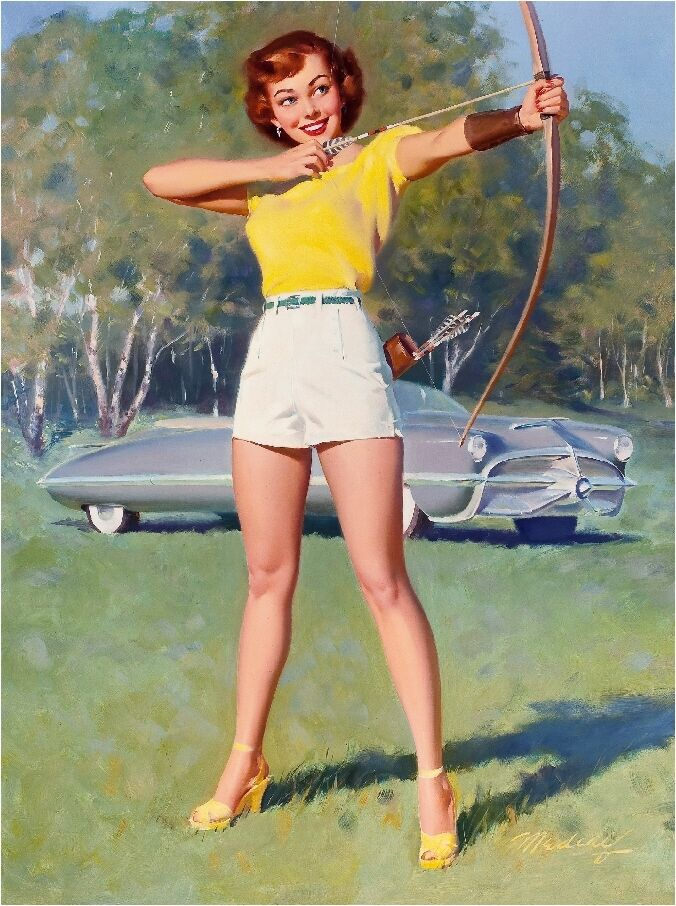 1940s Pin-Up Girl Archery Straight Shot Picture Poster ...
