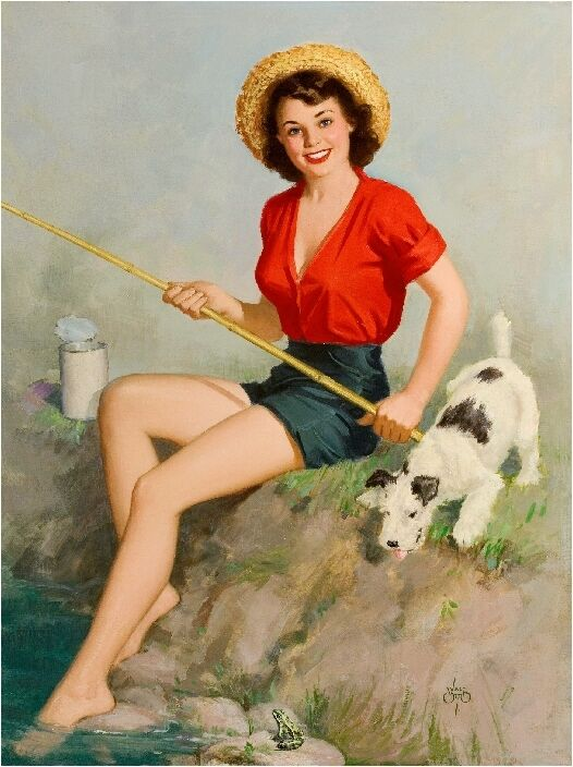 1940s Pin-Up Girl fishing with Fox Terrier Puppy Dog ...
