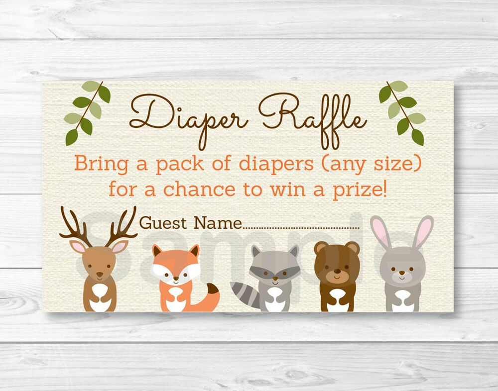 Woodland Forest Animals Baby Shower Diaper Raffle Tickets ...