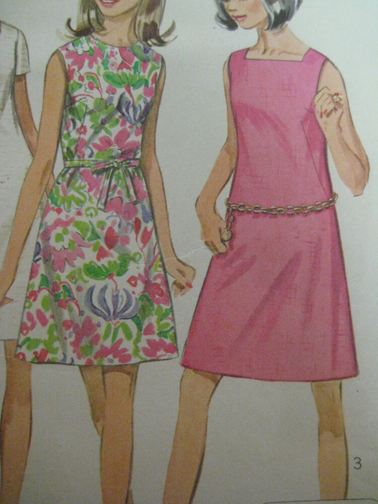 Vintage Simplicity 7627 A Line Dress W Fabric Belt Sewing