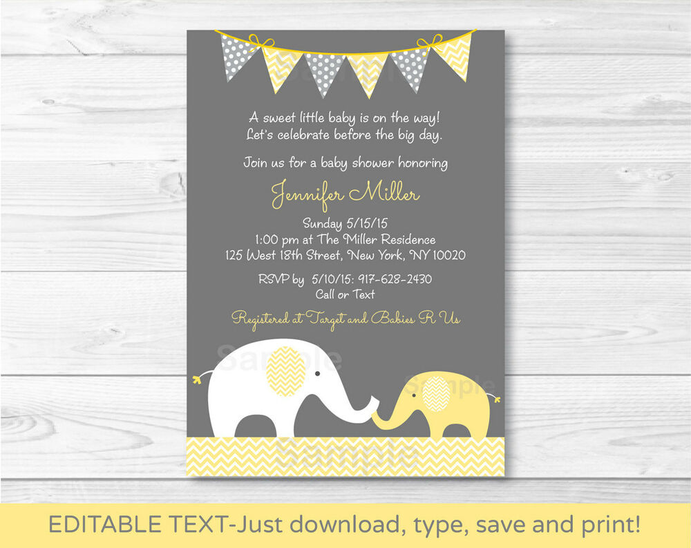 Yellow Baby Shower Invitations