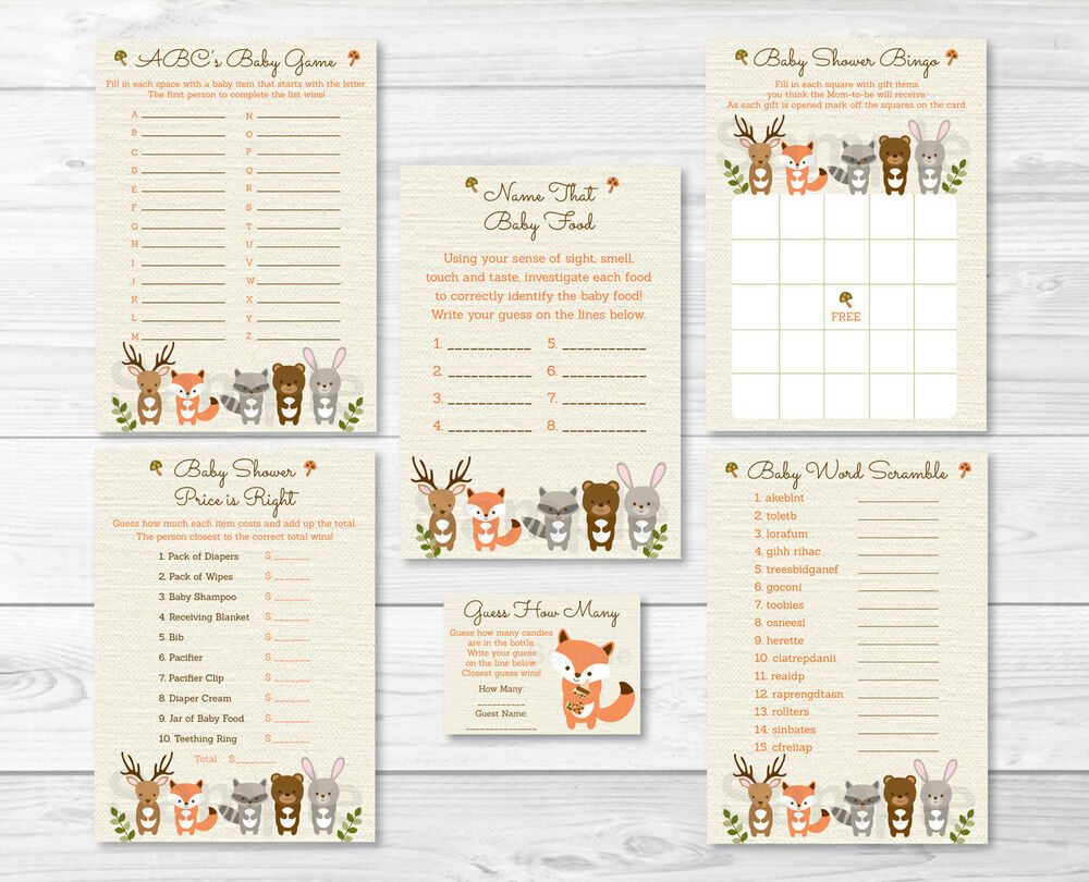 Woodland Forest Animals Neutral Baby Shower Games Pack - 6 ...