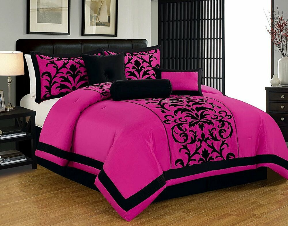 Hot Pink And Black Queen Or King Comforter Set 7 Pc