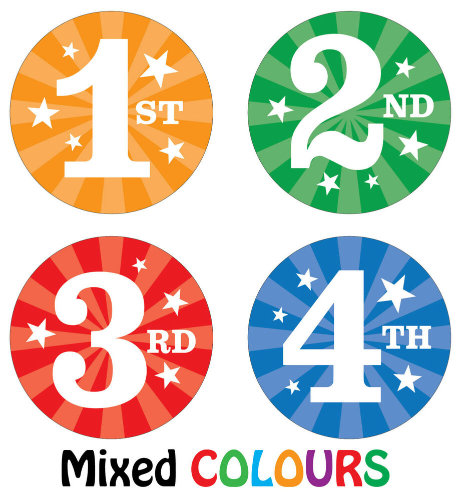 144 x Sports Day Reward Stickers - 1st, 2nd, 3rd 4th Place ...