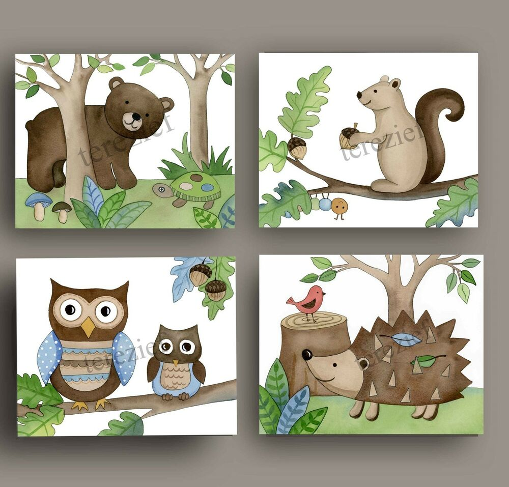 WOODLAND FOREST ANIMALS baby nursery kid children wall art ...