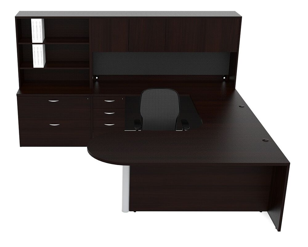 New Amber Bullet U Shape Executive Office Desk With Hutch
