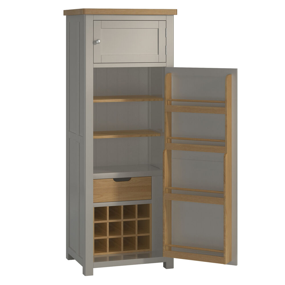 Padstow Grey Larder Unit Solid Wood Painted Small