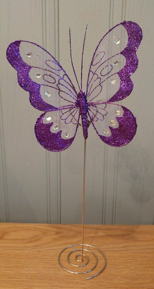 Wedding Butterfly Table Number Holders Purple Centre Piece