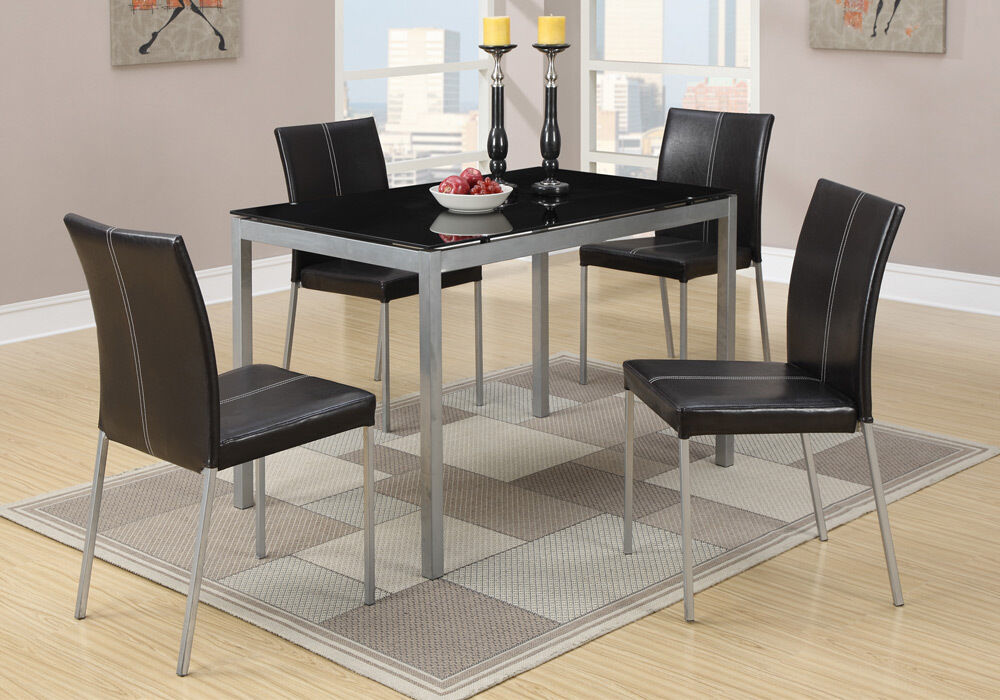 5 Pc Black Glass Dining Table Silver Legs Amp 4 Faux Leather