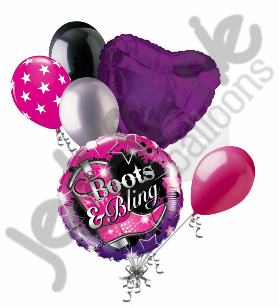 7pc Happy Birthday Boots Amp Bling Balloon Bouquet Party