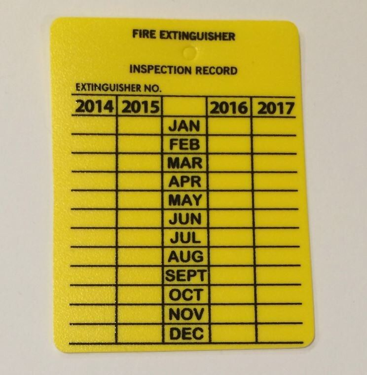 PACK OF 25 Fire Extinguisher Plastic 4-YR Inspection Tags ...