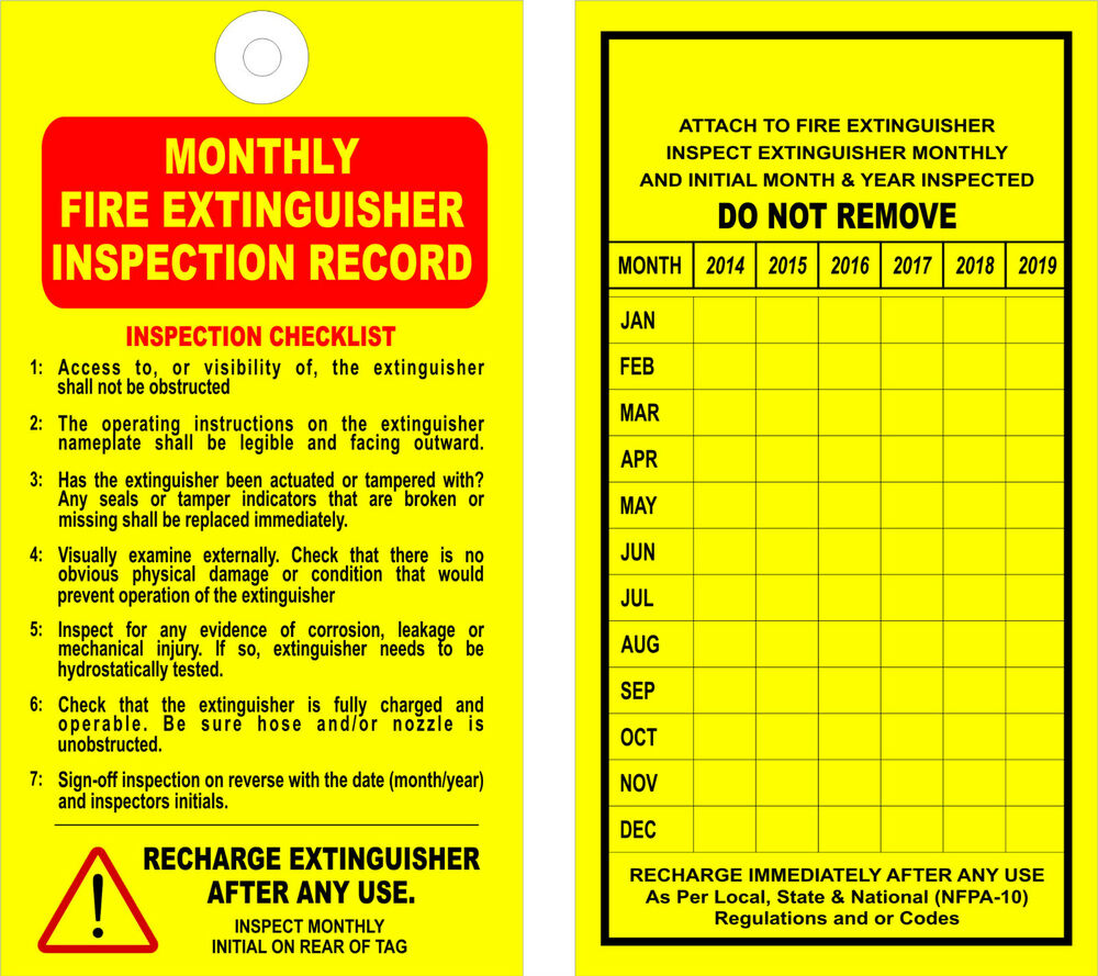 (12) FIRE EXTINGUISHER - MONTHLY INSPECTION TAGS - (Valid ...