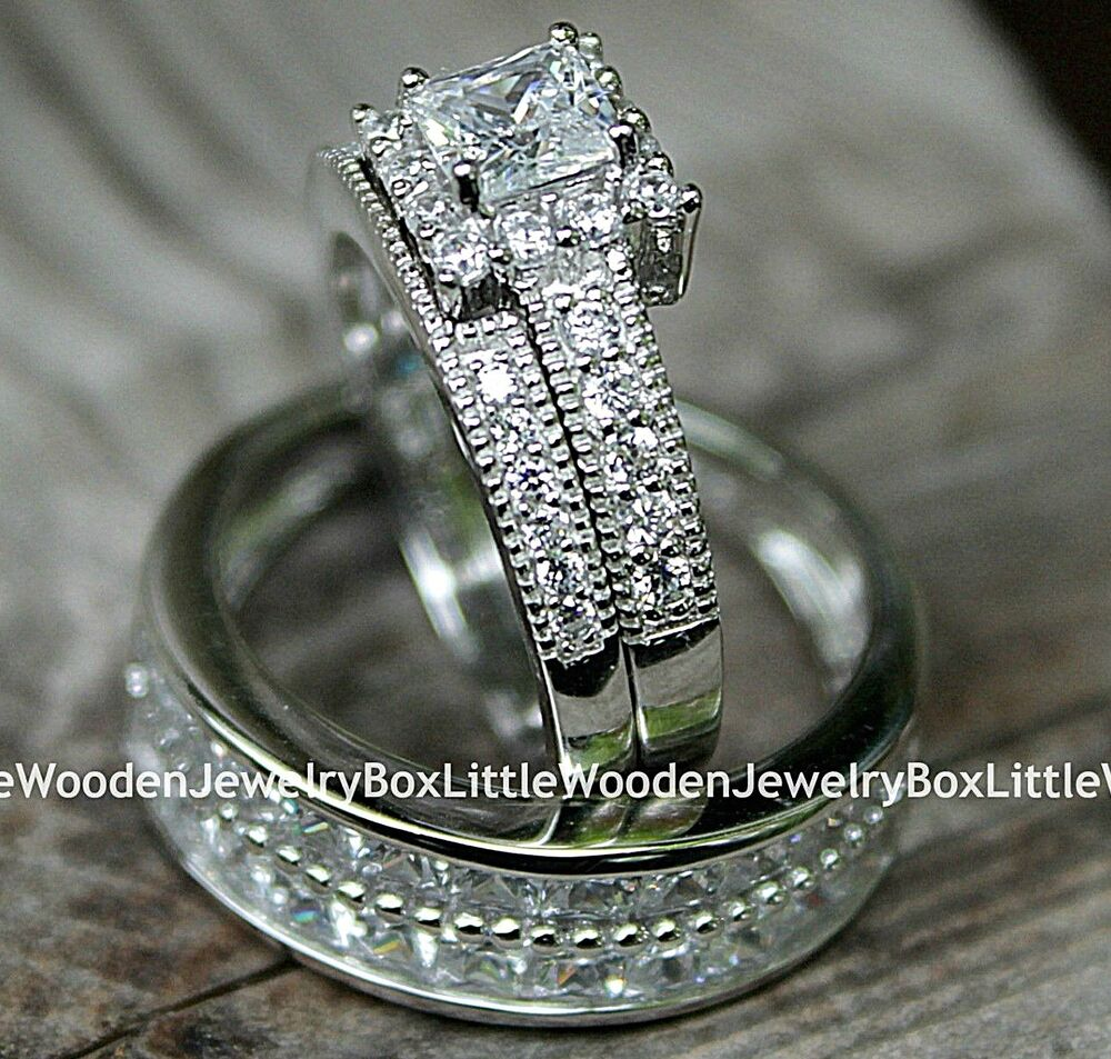 His And Hers 925 Sterling Silver White Gold Engagement Ring Wedding Band Set Ebay