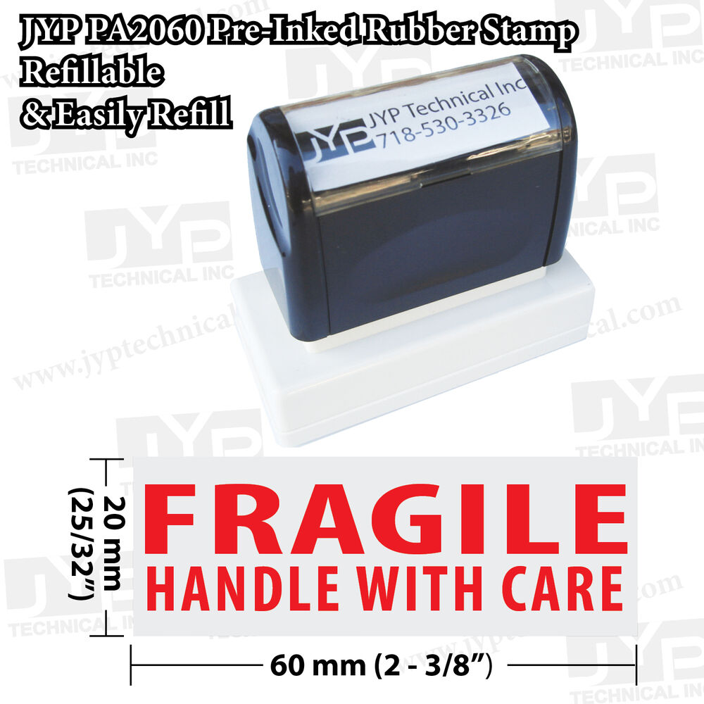 JYP PA2060 Pre-Inked Rubber Stamp, Stamp Text FRAGILE ...