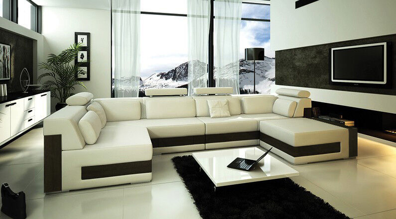 Contemporary Large Ivory L U Shaped Leather Sectional Sofa