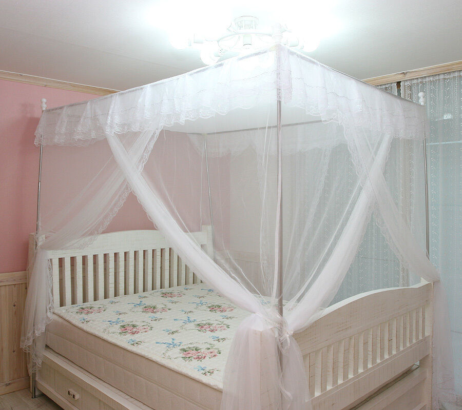 White Luxury 4 Post Lace Bed Canopy Frame Set Mosquito