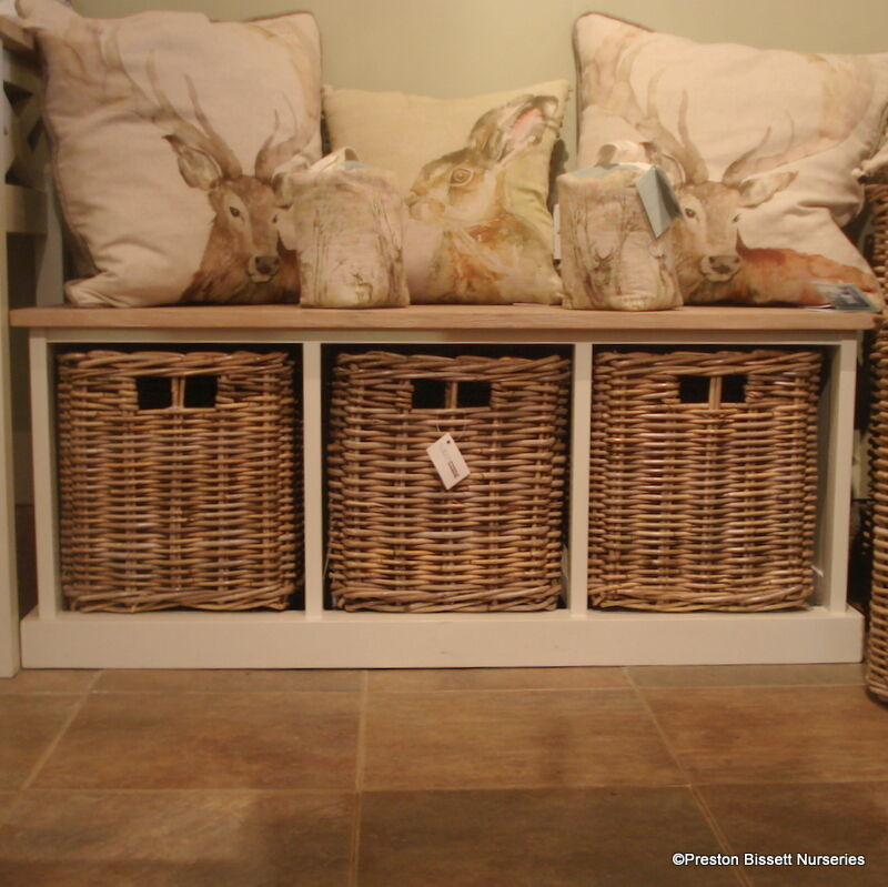 Storage Bench Wooden With 3 Wicker Baskets Southwold