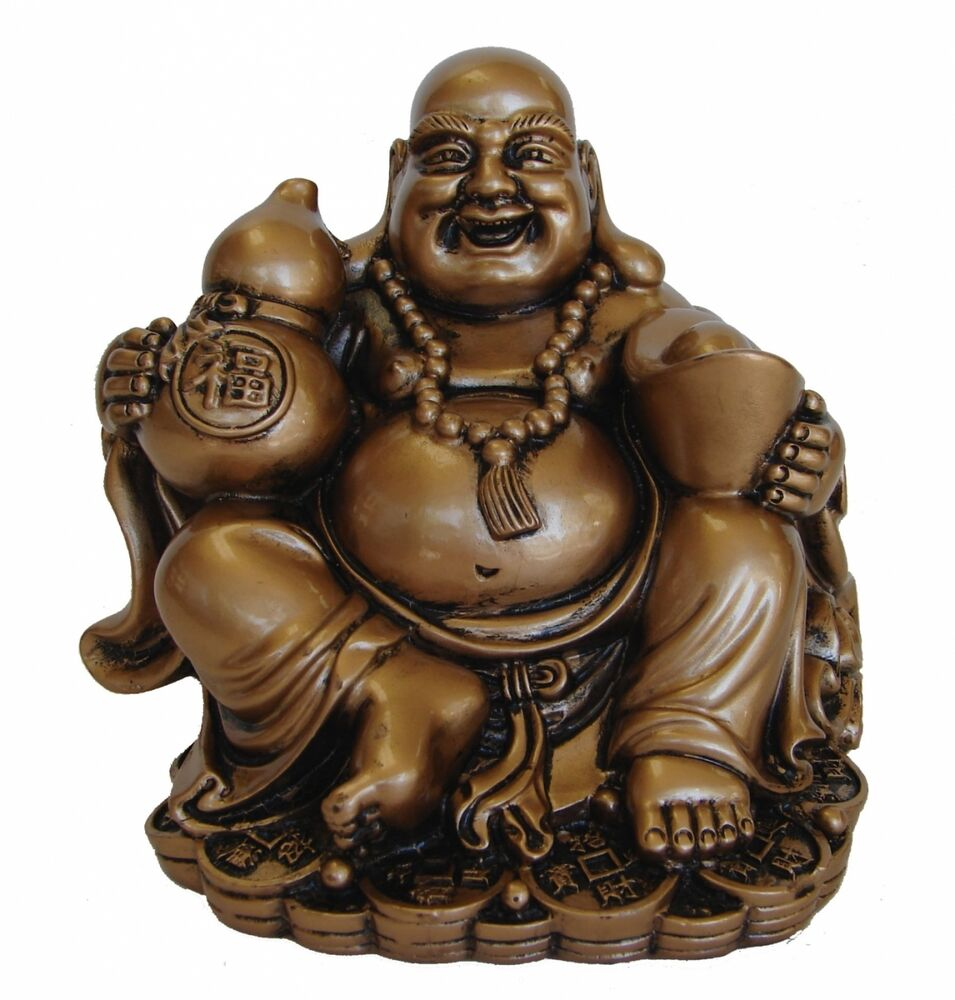 Golden Chinese Laughing Buddha with Wu Lou Statue | eBay