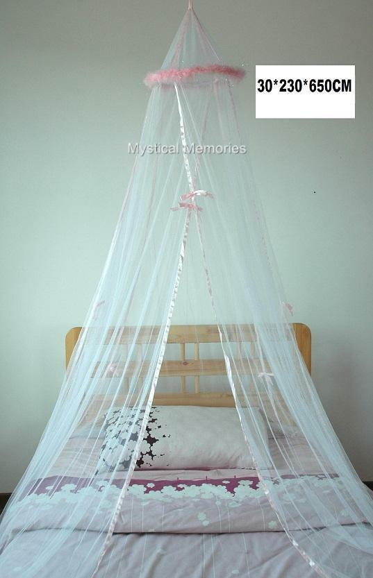 White Mosquito Net Bed Canopy W Pink Feathers Cot Sgl Ebay
