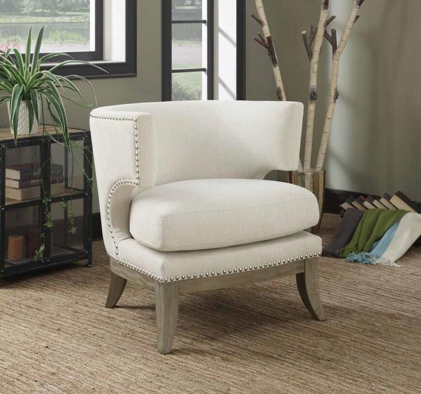 Accent White And Yellow Chair