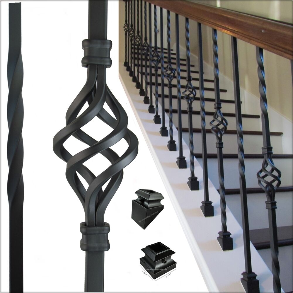 High Quality Iron Balusters For Stair Railing Balconies | Black Metal Spindles For Staircase