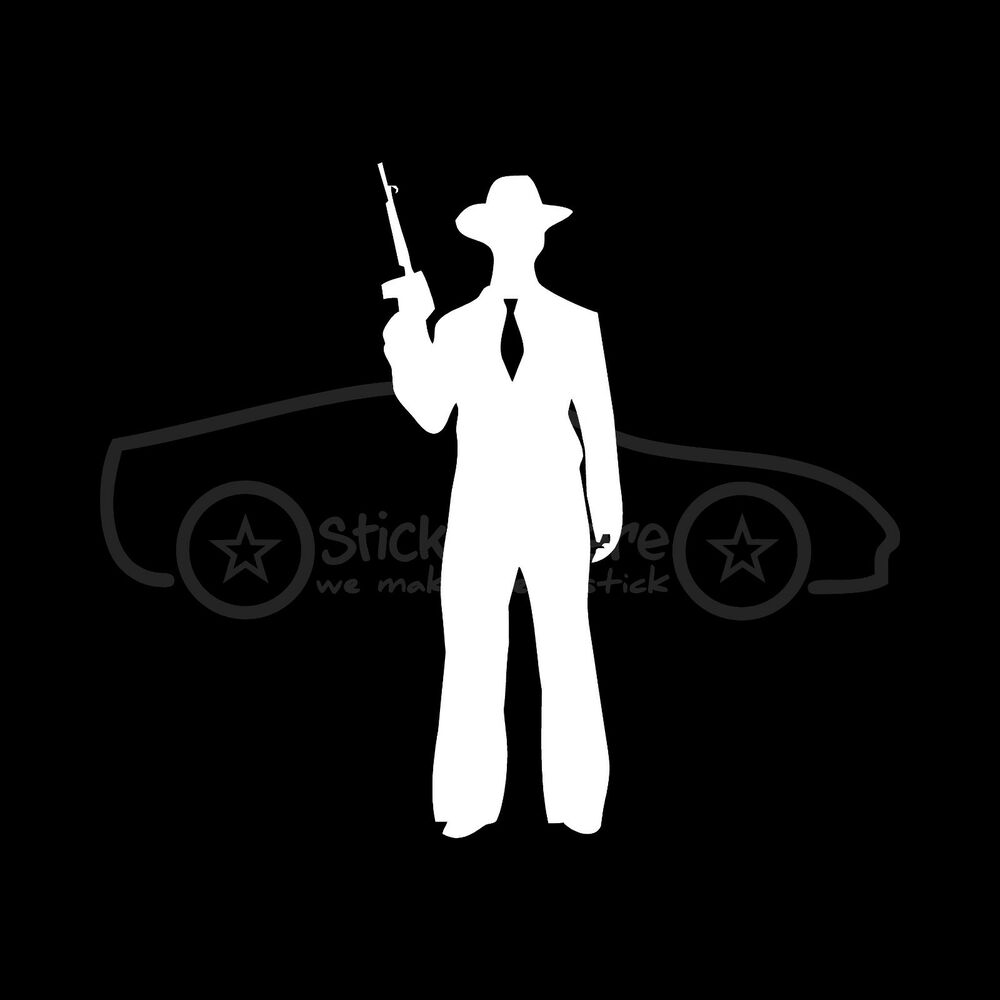 Tommy Gun Gangster Silhouettes