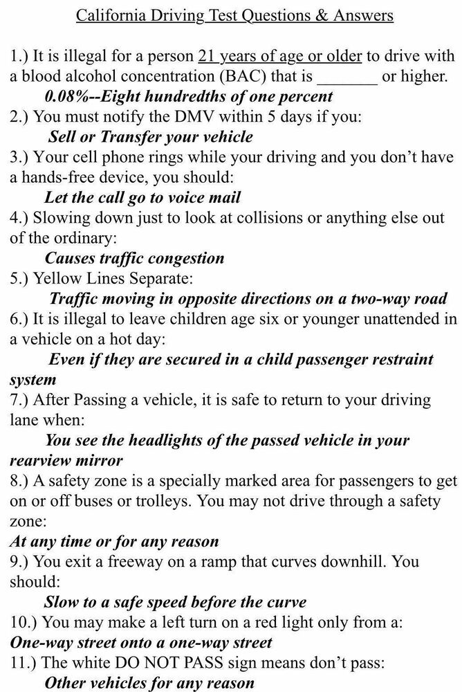 Ca Dmv Drivers Booklet Test