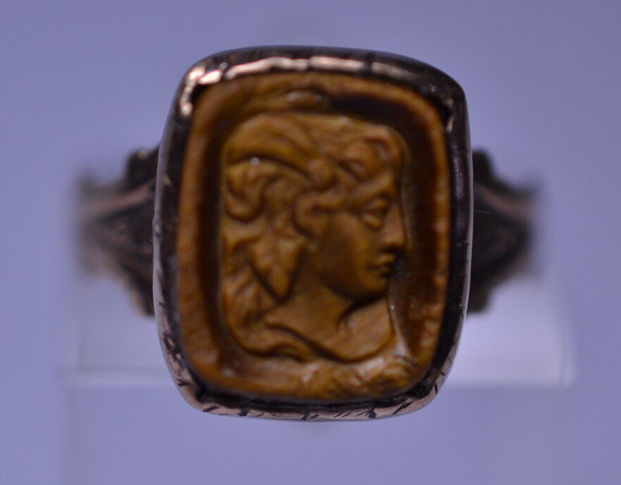 Antique Victorian 10k Yellow Gold Carved Tiger Eye Stone Cameo Ring Size 5 75 Ebay
