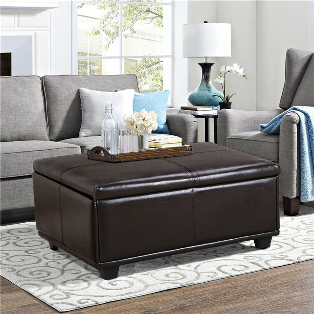 Leather Brown Table Coffee Ottoman