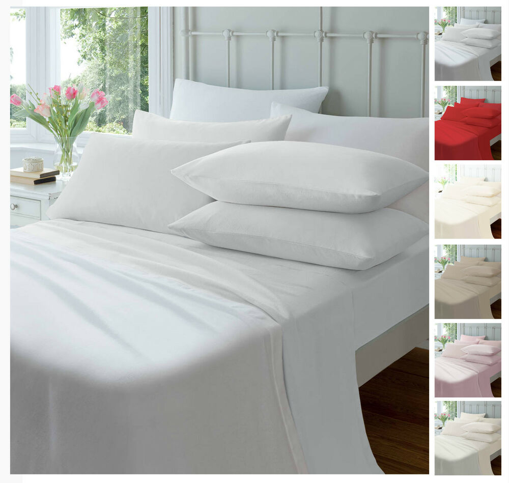 Luxury Flannelette Fitted Sheets,Soft Brushed Cotton Bed ...