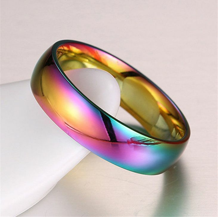 Rainbow Colorful Stainless Steel Rings Men Womens Engagement Wedding Band Gift Ebay