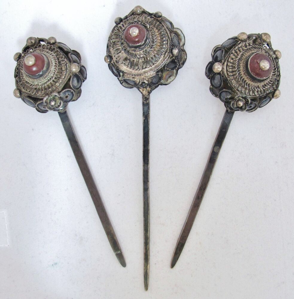 3 Antique Chinese Silver Hair Pins with Orange Carnelian ...